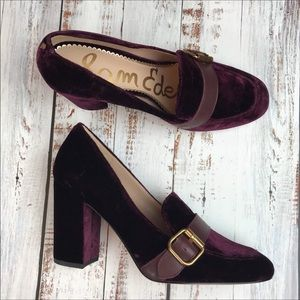Sam Edelman Purple Velvet Block Heel Pumps